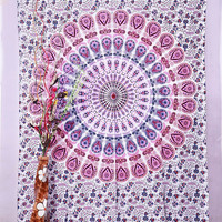 """White Indian Peacock Mandala Tapestry ,Indian Wall Hanging ,Hippie Indian Tapestry,bohemian Wall Hanging, Twin Bedspread Throw Decor Art, Indian Bedspread, Beach Throw, 85"""" by 55"""" inch"""