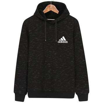 ADIDAS autumn and winter new hooded sports men's casual hooded sweater Black