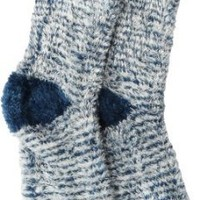 Soft and Warm Microfiber Fuzzy Socks in Navy/White by Foot Traffic, 4-10