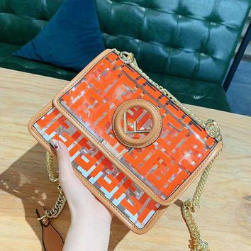 Fendi 2019 new women's transparent shoulder bag handbags Messenger small square bag #2