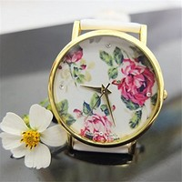 Flowers Printed Surface Leather Strap Watch with Rhinestone Detail 050211 Color White XDP 0617