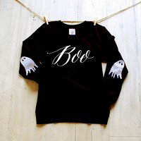 Women's Halloween Boo Ghost Sweatshirt / Happy Halloween Witches