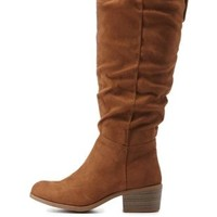 Chestnut Ruched Contrast-Tab Riding Boots by Charlotte Russe