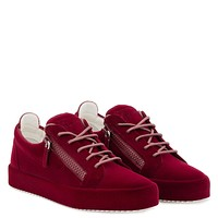 Giuseppe Zanotti Gz The Unfinished Dark Red Leather Low-top Sneaker With Flocking Patina