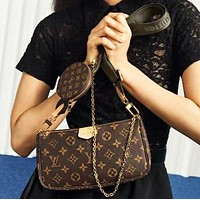 LV Louis Vuitton Women Fashion Leather Handbag Shoulder Bag Crossbody Satchel Key Pouch Suit Three Piece