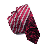 Men Ties Silk Skinny Ties For Men Narrow Slim Tie Stripe Red Necktie