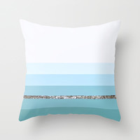 MINT BLUE GREEN Party Stripes II Throw Pillow by Monika Strigel