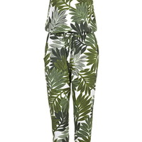 TALL Palm Leaf Print Strappy Jumpsuit - Topshop