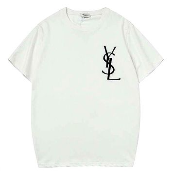 YSL Tide brand men and women models embroidery letters loose round neck half sleeve T-shirt white