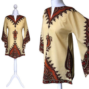 Vintage Dashiki | 70's Kaftan | Boho Hippy | 1970's Top | Tunic Dress | African Style | Butter Yellow And Terracotta | Unisex