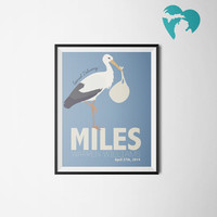Nursery Art - Stork & Baby Bundle - Gift for New Mom - Personalized Baby Gift - Customized Print
