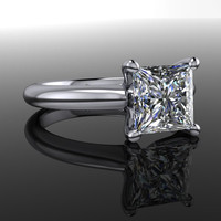 Forever Brilliant Moissanite Engagement Ring Princess Cut 1.72 CTW