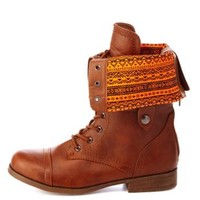 Tribal-Lined Fold-Over Combat Boots by Charlotte Russe - Cognac