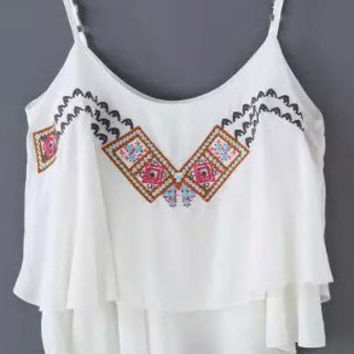 White Floral Printed Asymmetrical Strappy Crop Top