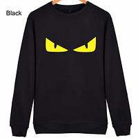FENDI personality tide brand classic monster eyes couple models round neck pullover sweater black