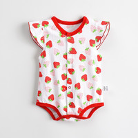 Baby Rompers Hot Summer New Baby Girls Clothes Floral Print Casual Stawberry Short-sleeved Jumpsuit Newborn Infant Clothing