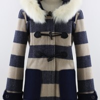 Faux Fur Hooded Navy Duffle Coat