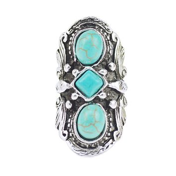 Long Gypsy Triple Turquoise Stone Ring Adjustable One Size Silver Tone Southwestern Statement Festival Jewelry