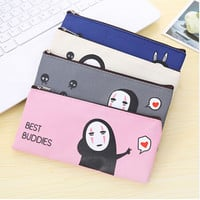 Cute Cartoon No Face Male Pencil Case School Supplies Kawaii Canvas Bag Kawaii Anime Stationery Pencil Bag Students Gifts