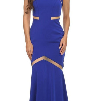 Sleeveless Trumpet Prom Gown with Sheer Panels Royal Blue