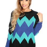 Black Royal Blue Chevron Knitted Sweater