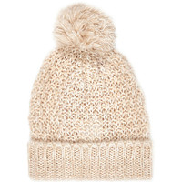 River Island Womens Cream loose knit beanie hat