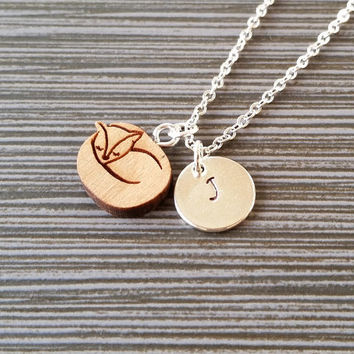 Wooden Cat Necklace - Sleeping Fox Charm Necklace - Personalized Necklace - Custom Gift - Initial Necklace - Silver Charm Necklace