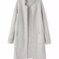 Open Knitted Cardigan with Double Pocket