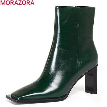 Green 2020 New arrival fashion women boots genuine leather boots thick high heels square toe solid color ankle boots