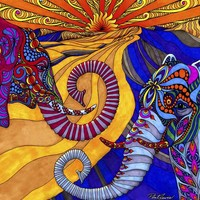 The Elephants Tapestry   Phil Lewis Art