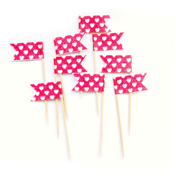 12 Red & White Heart Cupcake Toppers - Washi Tape Cupcake Toppers, wedding, engagement, birthday, baby shower, tea party
