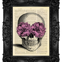 Sugar Skull Dictionary Art Print Christmas gift idea for him boyfriend Wall Decor 433