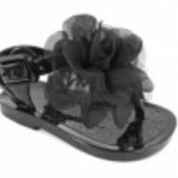 Baby & Toddler Black Jelly Sandal with Flower