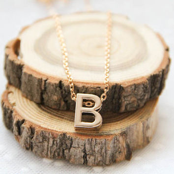Personalized Initial Letter B Pendant, Monogram Necklace, Gift For Her