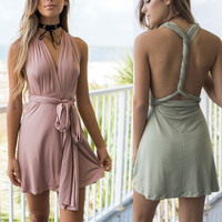 Spaghetti Strap Women's Fashion Summer Sleeveless Backless One Piece Dress [11499128399]