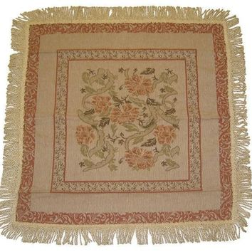 DaDa Bedding Floral Nature Garden Beige Orange Square Tapestry Table Cloth (10072)