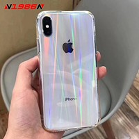 N1986N Rainbow Laser Case For iPhone X XR XS Max 11 11 Pro Max 6 6s 7 8 Plus Luxury Colorful Transparent Hard Acrylic Phone Case