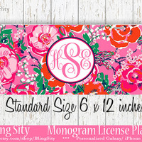 Pink Floral Monogram License Plate Metal Wall Sign Auto Car Truck Tags Personalized Custom Vanity Red Flowers Lilly Inspired