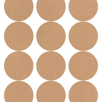 60 Circle Wide Mouth Canning Jar and Candle Labels, Kraft