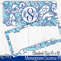Light Blue Paisley Monogram License Plate Frame Holder Metal Wall Sign Tags Personalized Custom Vanity Plate