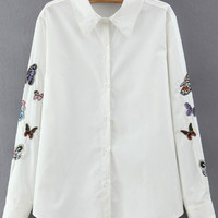 White Long Sleeve Butterfly Embroidered Blouse