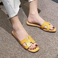 Hermes slippers fashion ladies new Korean style outer wear student flat-bottomed flip flops