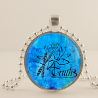 "Truth, blue, 1"" glass and metal Pendant necklace Jewelry."
