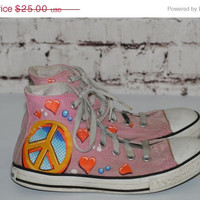 40% OFF 90s Chuck Taylor converse limited edition Drew Brophy pink peace sign hearts high top sneakers shoes youth girls 4 kids grunge hipst