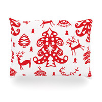 """Miranda Mol """"Frosted Landscape White"""" Red Holiday Oblong Pillow"""