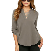 Sexy Women V-neck Chiffon Blouse Casual Long Sleeve Solid Shirts Tops Plus Size