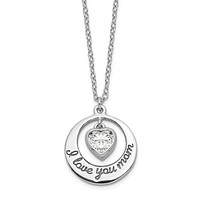 Sterling Silver CZ Heart I Love You Mom Necklace
