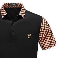 LV Louis Vuitton 2018 summer new men's trend lapel shirt T-shirt F/A