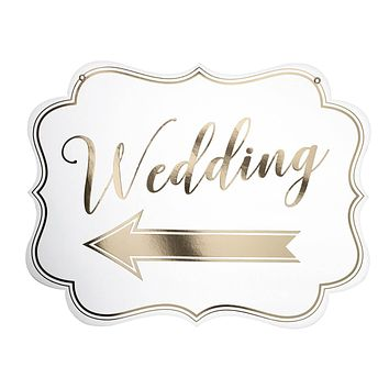 White and Gold Arrow Wedding Sign