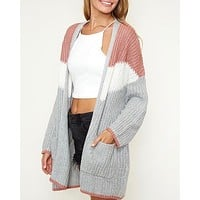 Open Front Longline Colorblock Knit Cardigan with Pockets in Mauve/Multi